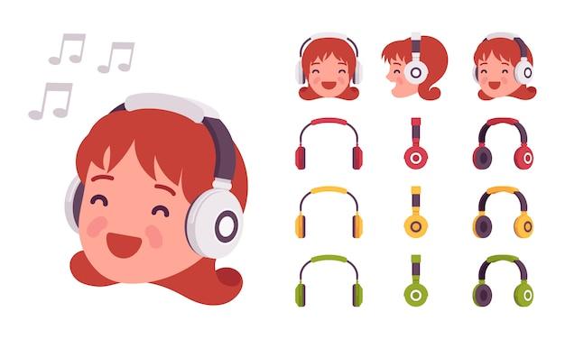 Meisje in koptelefoon
