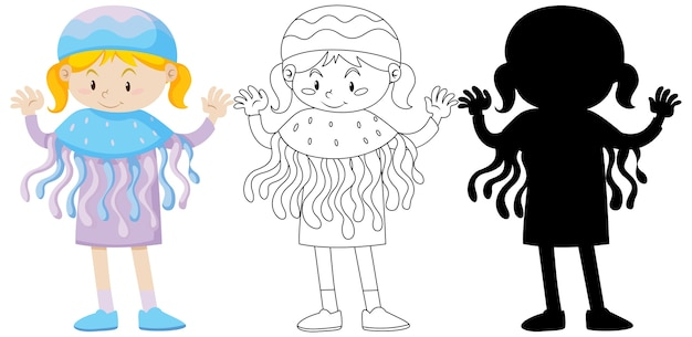 Meisje in kwallenkostuum in kleur en omtrek en silhouet