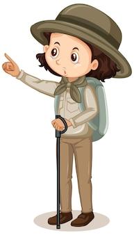 Meisje in safari outfit op witte achtergrond