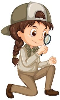 Meisje in safari-uniform