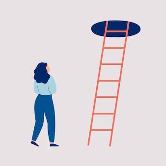 Meisje in twijfel en besluiteloosheid staat van de trap naar de top. concept van een moeilijke keuze
