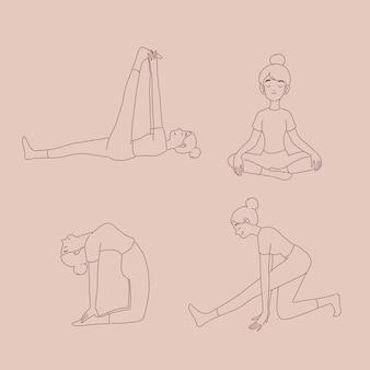 Meisje in verschillende yoga houdingen in lijnstijl