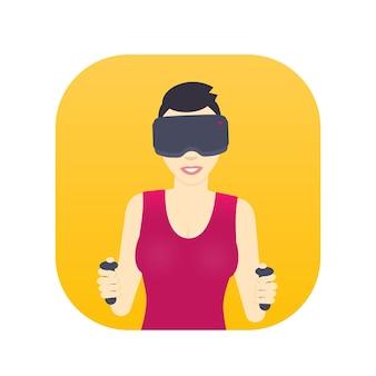 Meisje in virtual reality-bril, lachende meid met kort kapsel, vrouwelijk personage in vlakke stijl