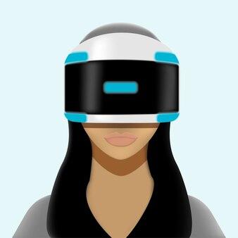 Meisje in virtual reality-helm. vrouw in vr-bril, interfacetechnologie. illustratie.