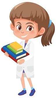 Meisje in wetenschapper kostuum bedrijf boeken objecten geïsoleerd op een witte achtergrond