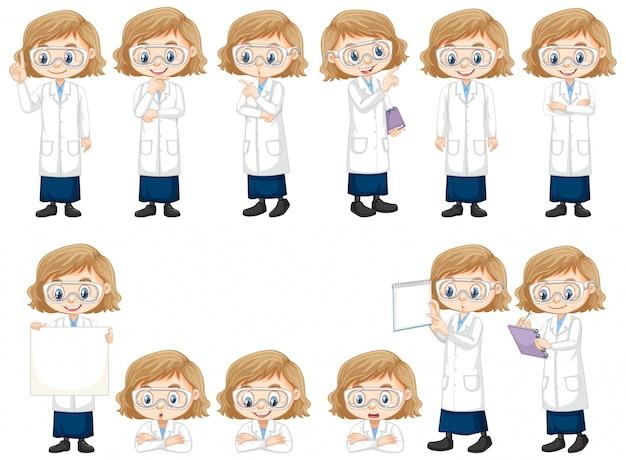 Meisje in wetenschapstoga die verschillend stelt doet