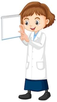 Meisje in wetenschapstoga die zich op wit bevindt