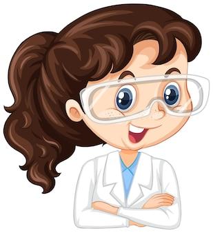 Meisje in wetenschapstoga op geïsoleerde background