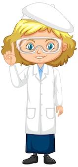 Meisje in wetenschapstoga op wit