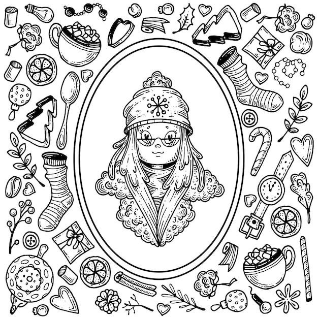 Meisje in winterkleren en een reeks elementen rond het thema van de winter.
