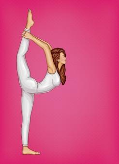 Meisje in witte pak doet gymnastiek of yoga, staat in positie op een been en strekt zich uit