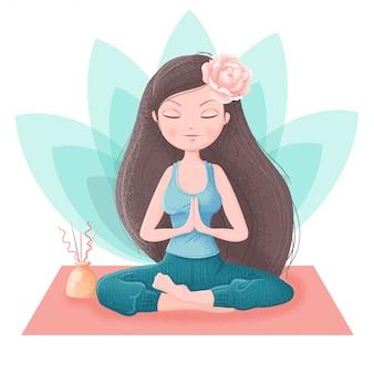 Meisje in yoga asana's en accessoires voor ayurveda en pioen bloemen
