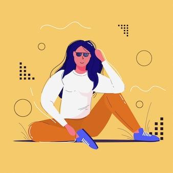 Meisje in zonnebril poseren voor foto fashion shoot concept aantrekkelijke vrouw zitten buiten volledige lengte schets