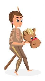 Meisje indiaanse kostuum met stok speelgoed paard