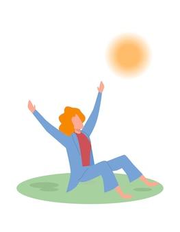 Meisje is blij. jong meisje of tiener geniet van het leven, goed humeur, vrouw zittend op het gras in het park en kijkend op de zon, positief denken, platte vector stripfiguur