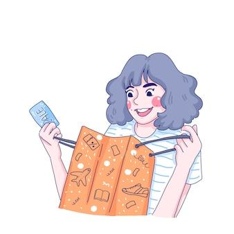 Meisje is verrast met haar boodschappentas