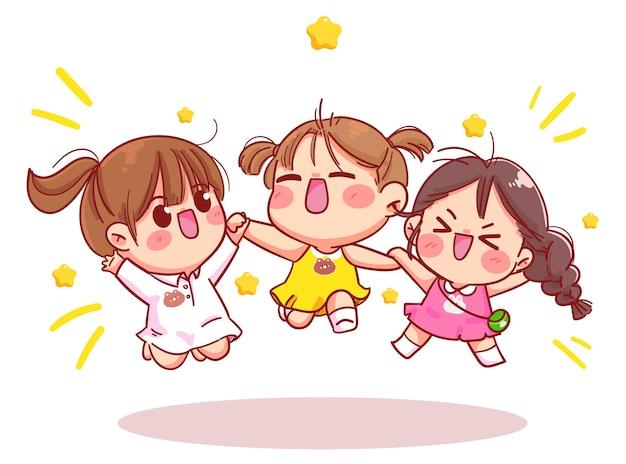 Meisje jongen springen en glimlacht cartoon kunst illustratie