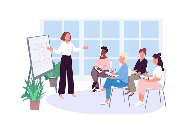 Meisje kantoor vergadering egale kleur anonieme karakters