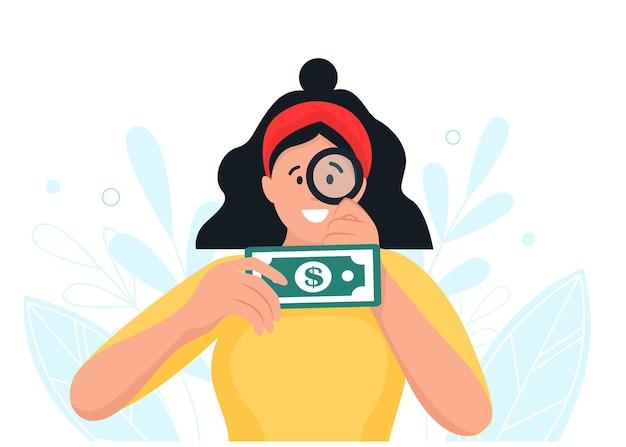 Meisje karakter kijkt door een vergrootglas naar geld. in cartoon-stijl.