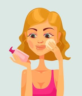 Meisje karakter make-up verwijderen. tekenfilm
