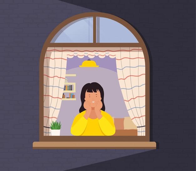 Meisje kijkt uit raam van appartement. concept van menselijk leven, activiteit en werk vanuit huis.