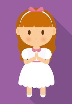 Meisje kind cartoon witte jurk pictogram