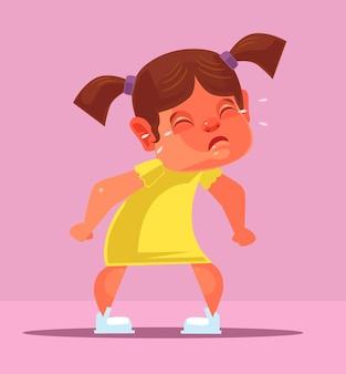 Meisje kind karakter schreeuwen. tekenfilm