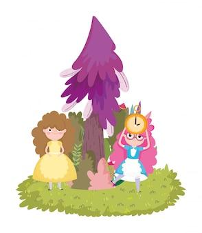 Meisje klok pijnboom boom gras in wonderland cartoon
