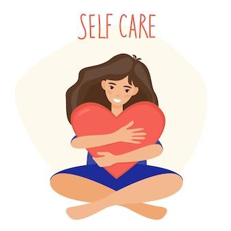 Meisje knuffelt een rood hart met zelfzorgtekst op de achtergrondillustratie