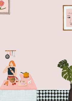 Meisje koken roze achtergrond vector schattige levensstijl tekening