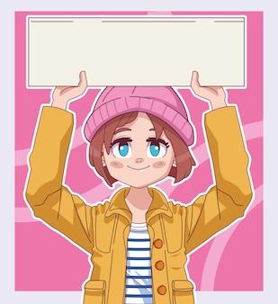Meisje komische manga die hoed draagt die de illustratie van de protestbanner opheft