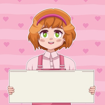 Meisje komische manga karakter opheffing protest banner illustratie