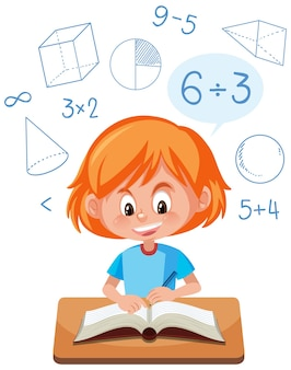 Meisje leert wiskunde met wiskundesymbool en pictogram