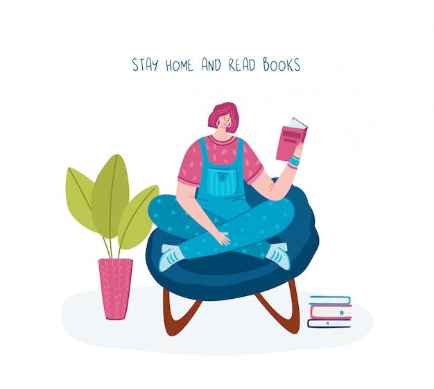 Meisje leesboek en rust in huis kamer in fauteuil, student gelezen en studeren, literatuur fan