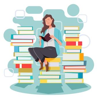 Meisje leest op stapel boeken