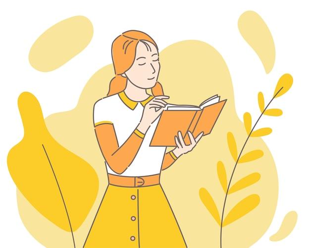 Meisje leest papier boek cartoon afbeelding. vrouw die van roman geniet.