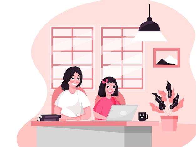 Meisje leest thuis online vanaf laptop en haar moeder schrijft in boek tijdens coronaviruspandemie.