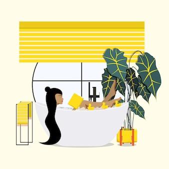 Meisje lezen in de badkamer. vrouwen in de badkamer. vector illustratie.