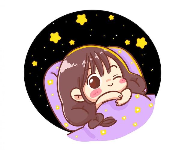 Meisje liggend op zwarte achtergrond gekleed met het logo van de sterrenillustratie. premium vector