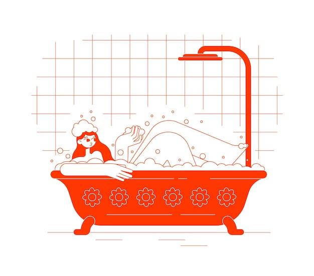 Meisje ligt in het schuim in een rood bad met een douche