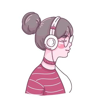 Meisje luisteren muziek cartoon karakter illustratie