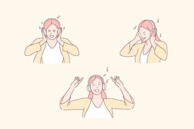 Meisje luistert naar muziek met een koptelefoon illustratie