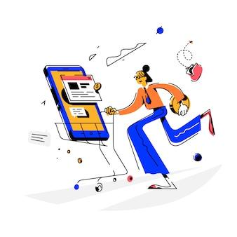 Meisje maakt een aankoop, illustratie. vector. de koper aan de telefoon heeft een nieuwe telefoon. koper van goederen.