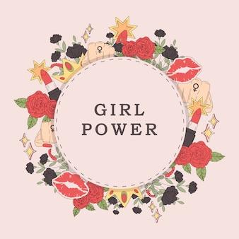 Meisje macht bloem frame vector