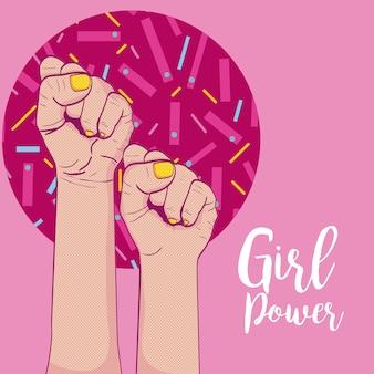 Meisje macht memphis stijl vector illustratie grafisch ontwerp