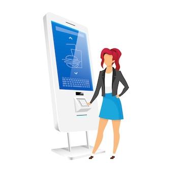 Meisje met automaat kiosk egale kleur anonieme karakter. vrouw die eten bestelt in zelfbedieningsteller geïsoleerde cartoon afbeelding op witte achtergrond. interactief digitaal bord
