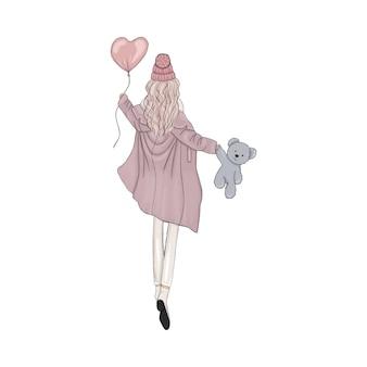 Meisje met ballon en teddybeer