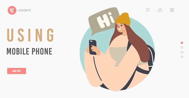 Meisje met behulp van mobiele telefoon landingspagina sjabloon. jonge vrouw die op het scherm kijkt van een smartphone die een bericht leest, communiceert of surft in internetnetwerk, gadgetverslaving. cartoon vectorillustratie
