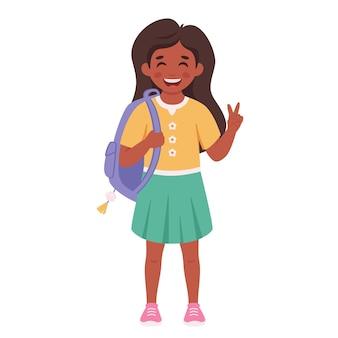 Meisje met beugels op tanden basisschoolstudent