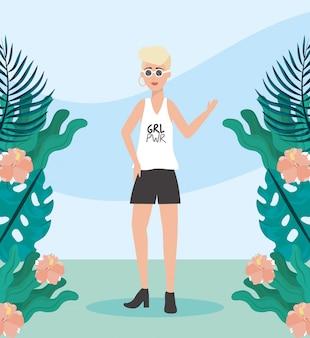 Meisje met blouse en korte vrijetijdskleding met kapsel